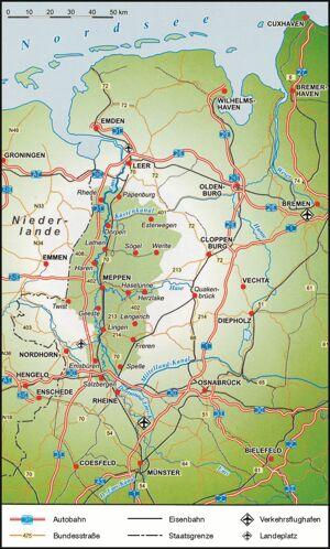 Emsland Karte.Landkreis Emsland Geografie Zahlen Und Daten Das Emsland